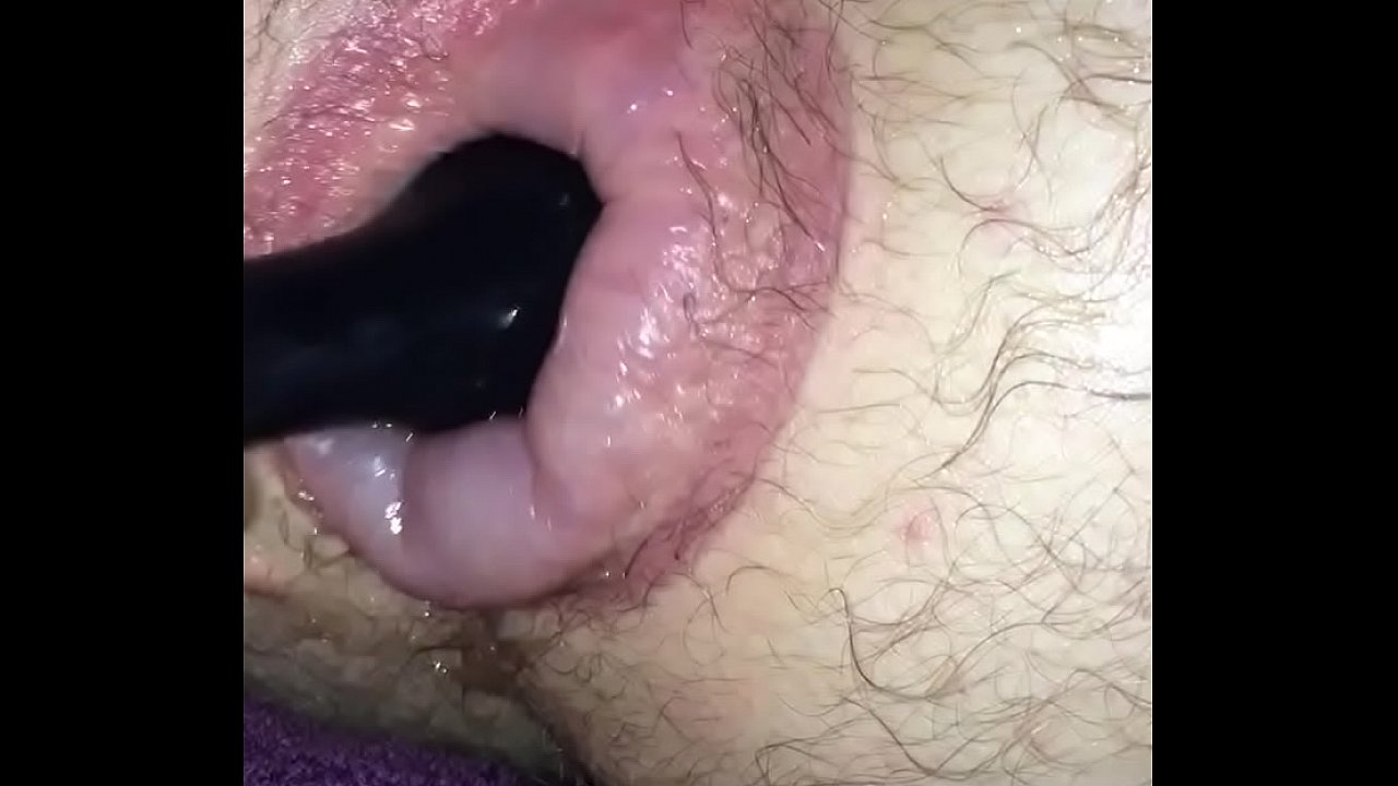 Screwing my puffy man pussy with a toy